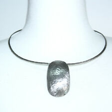 Silver Pl Brass Ω Necklace Oval Bent Pendant 3*5.3 Silk Co Op Handmade Hammered