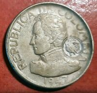 Colombia 50 Centavos 1947 Bogota Resellada plata @ bella @