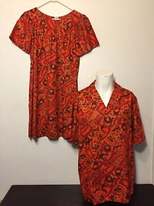 Vintage 60s NEW Hawaiian Honeymoon Set Dress M Shirt L Orange Red His Hers Aloha