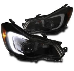 For 12-15 Subaru Impreza/13-16 XV Crosstrek LED Projector Headlights Black/Smoke