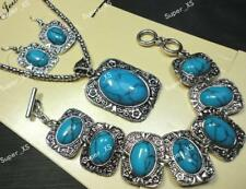 1sets Blue Turquoise Jewellery Set Earrings Necklace Bracelet 3pcs in 1 Mixed
