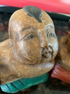 Antique Asian Hand Carved Wooden Boy and Girl Figurines