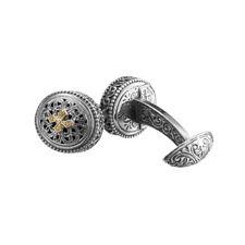 Gerochristo 7182N ~ Solid Gold & Sterling Silver Medieval Cross Cufflinks