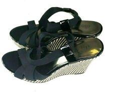 Charles David Womens Sandals Size 8 Black and Checker Designer  Ankle Strap