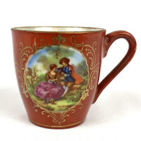 Antique Teacup Red China Porcelain Hand Painted 18th Century Scene Gold Trim