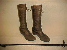 Antique Victorian Women's Equestrian Riding Boots Hood Arrow & Wood Leather Crop