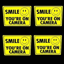 SECURITY CAMERAS IN USE STICKER DECALS SMILE YOURE ON VIDEO TAPE FOR WINDOW DOOR