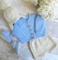 dk knitting pattern to knit baby boys cardigan hat shorts booties set easy
