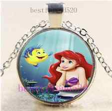 Mermaid And Fish Photo Cabochon Glass Tibet Silver Chain Pendant Necklace