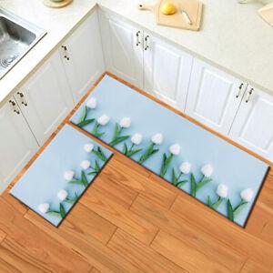 Blue Background White Tulip Flowers Area Rugs Kitchen Rug Living Room Floor Mat
