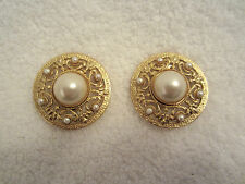 Spingarn Pearl Cabochon Clip Earrings Fleur di Lys Gold Plated SIGNED Vintage