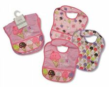 Nursery Time PEVA  Baby Bibs Girls with Touch Fastening - 3 Pack - 801