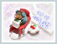 ❤️Wee Forest Folk Mole's Red Sled MO-03 Christmas Snow Mole Holiday RETIRED❤️