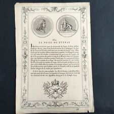 Gravure XVIIIè Médaille La Prise De Stenay 1654 Roi Louis XIV Engraving 18thC