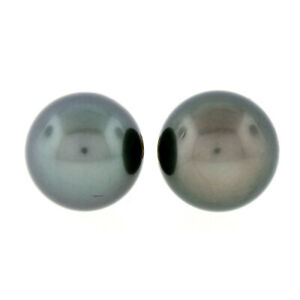 Simple Classic 18k Gold Large 10.75mm Round Gray Tahitian Pearl Stud Earrings