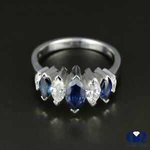 Natural 1.92 Ct Marquise Diamond & Sapphire Wedding Band Anniversary Ring 14KWG