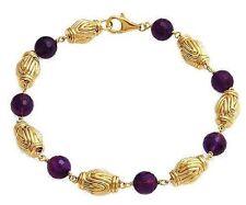 17.61ctw Amethyst 14K Gold Bracelet