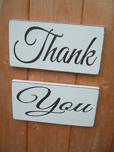 Wedding Signs THANK YOU wedding props shabby vintage chic plaques signs 12x6