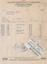 1950 invoice SOUTH BEND BAIT COMPANY Indiana FISHING TACKLE etc.