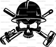 Oilfield/Pipeline Skull vinyl decal/sticker pipewrench sledgehammer hardhat