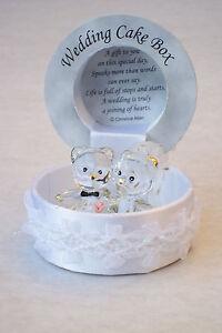 BRIDE & GROOM WEDDING KEEPSAKE@22ct Gold BEARS Box Gift UNIQUE VEIL@MAN & WIFE