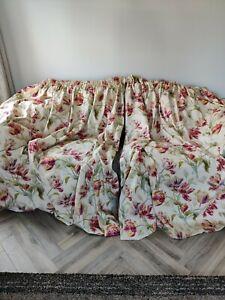 "Laura Ashley Gosford cranberry .Tulip Design Curtains..88""wide X 72"" dr (pair 1)"