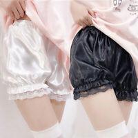 Victorian Bloomers Ruffles Imitation Silk Panties Pettipants Safety Short Pants
