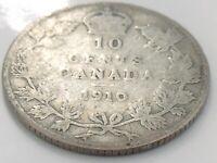 1910 Canada Ten 10 Cent Dime Silver Canadian Circulated Edward VII Coin K077