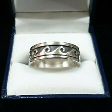 MENS 925 SILVER WAVE RING
