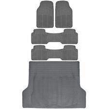 Van SUV Floor Mats All Weather 5 Piece Rubber Mat 3 Row & Trunk Mat Gray