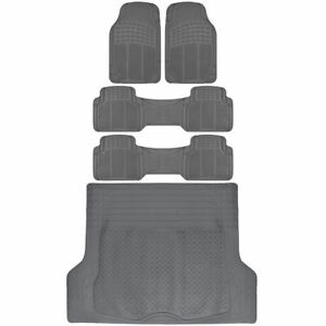 5pc Combo Set of Van SUV Floor Mats All Weather Rubber Mat 3 Row w/ Trunk Gray