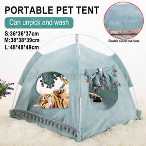 Portable Pet Teepee Tent Soft Cat Dog Fluffy Bed House Puppy Cushion Pad Kennel