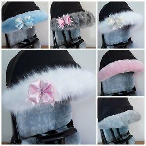 Fur Hood Trim Pram Pushchair Accessories BABY  Stroller Buggy pram  fur / bow