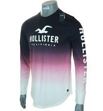 Bnwt Men's Authentic Hollister Long Sleeve Ombre T Shirt Logo Graphic M L New