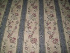 Striped Floral Upholstery Fabric Material Antiques by the metre Blue (8)