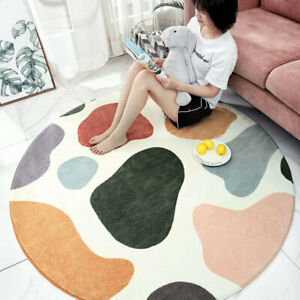 Round Rug Tropical Plants Lamb Cashmere Living Room Bedroom Sofa Non Slip Carpet