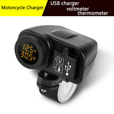 Universal Motorcycle Bike Dual USB Charger 2.1A W/ Digital Yellow LED Voltmeter