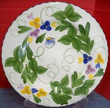 Laurie Gates Palisades 1 Dinner Plate Flowers Leaves Insects Blue Checked Edges