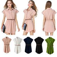 Women Short Sleeve Chiffon Shirt Polo Neck Mini Dress With Belt UK 6-14 1141
