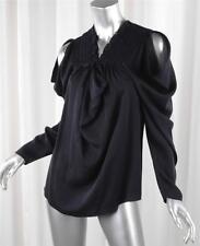 DEREK LAM Womens Black Silk Chiffon Long-Sleeve Blouse Top Shirt US 6 IT 42