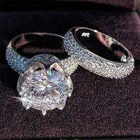 7Ct Round Cut Solitaire Bridal Set Engagement Wedding Ring 14k White Gold Finish