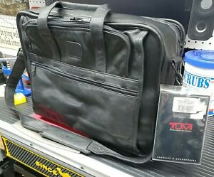 TUMI Napa Soft Leather Briefcase Computer Laptop Bag Black Travel 985 free ship