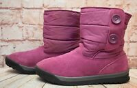 Womens Lands End Pink Nylon & Suede Pull On Winter Ankle Boots UK 8 EUR 41.5