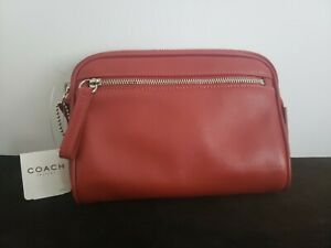AUTHENTIC RED LEATHER COACH BEAUTY BAG