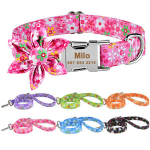 Floral Personalised Girl Dog Collar and Lead Leash Engraved Name Quick Release