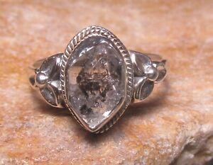 Sterling silver everyday Herkimer diamond ring UK P/US 7.75. Gift bag.
