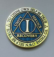 1 Year Sobriety Chip Alcoholics Anonymous Gold Plated Blue AA Coin Medallion