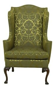L52870EC: SOUTHWOOD Gold Silk Damask Upholstered Wing Chair