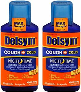 Delsym Adult Night Time Cough and Cold Liquid, Mixed Berry, 6 Ounce (Pack of 2)
