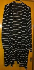 Women's Black & White Striped Open Front Sweater From Lane Bryant, Size 18/20